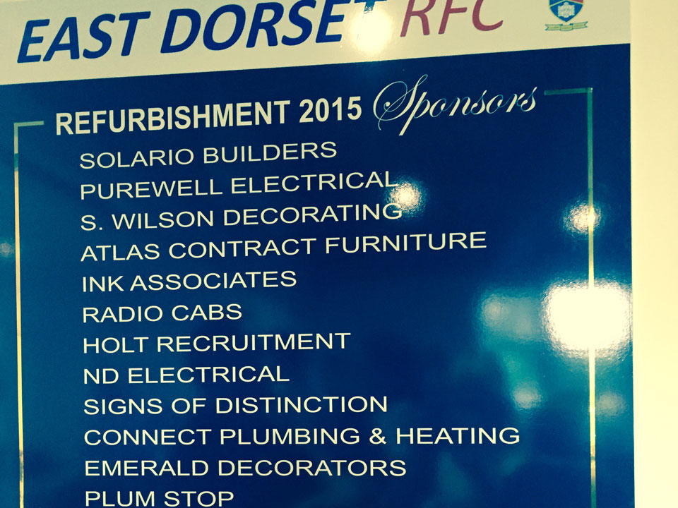 Emerald Painters Sponsoring East Dorset Rugby Football Club - Refurbishment Board