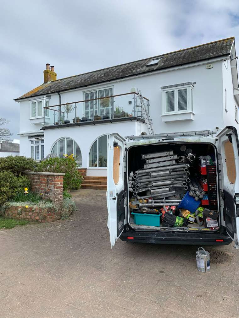 Packing up after Completing an Exterior Painting Contract at Mudeford for Local Councillor - Emerald Painters Portfolio