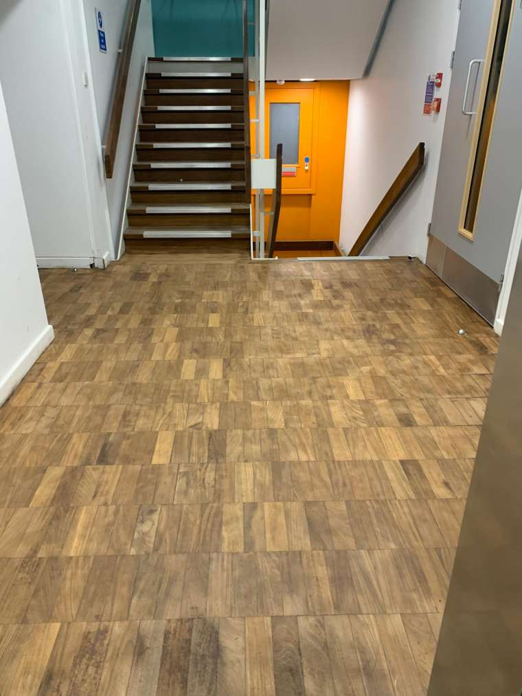 Southampton University - Restoration of Parquet Flooring with Intumescent Varnish - After - Emerald Painters Portfolio