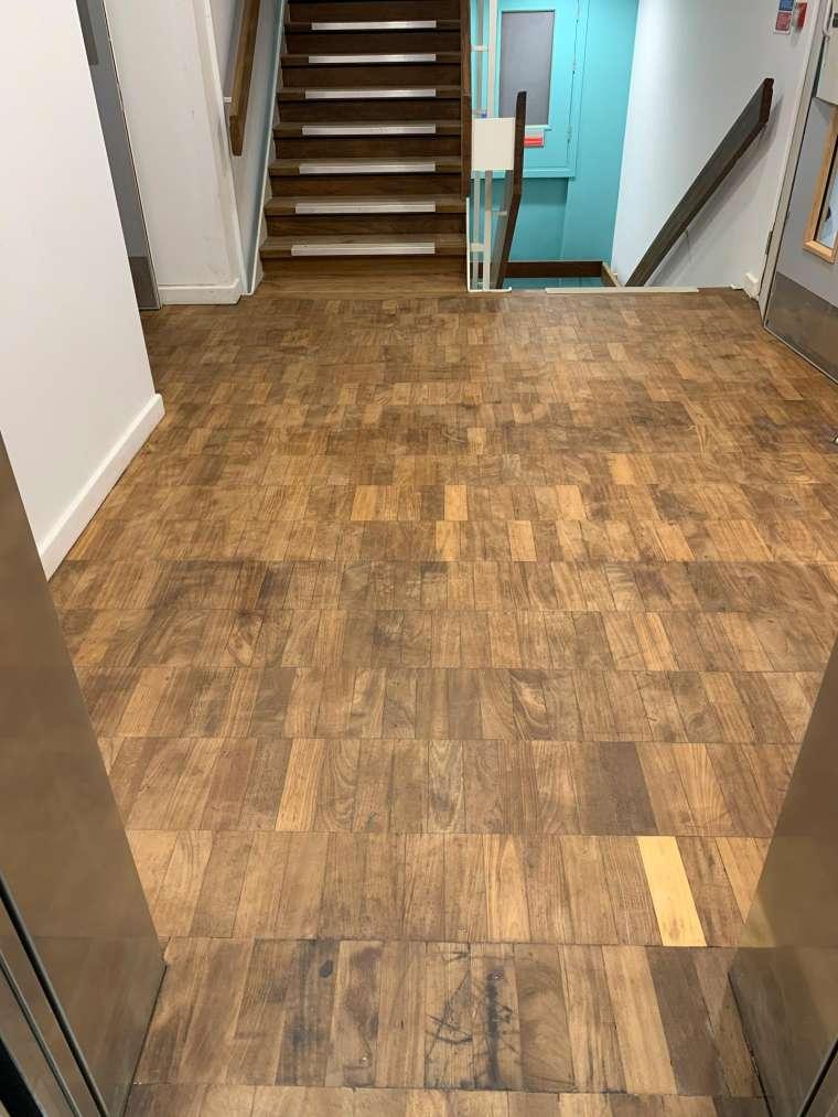 Southampton University - Restoration of Parquet Flooring with Intumescent Varnish - After - Emerald Painters Portfolio