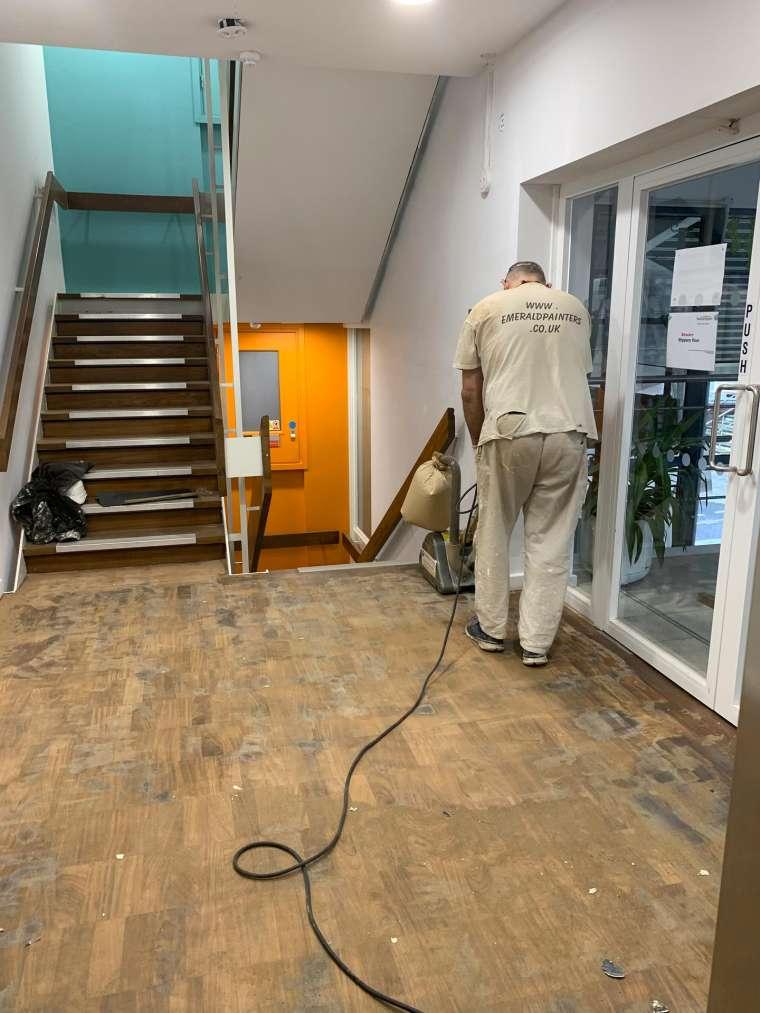 Southampton University - Restoration of Parquet Flooring with Intumescent Varnish - In Progress - Emerald Painters Portfolio