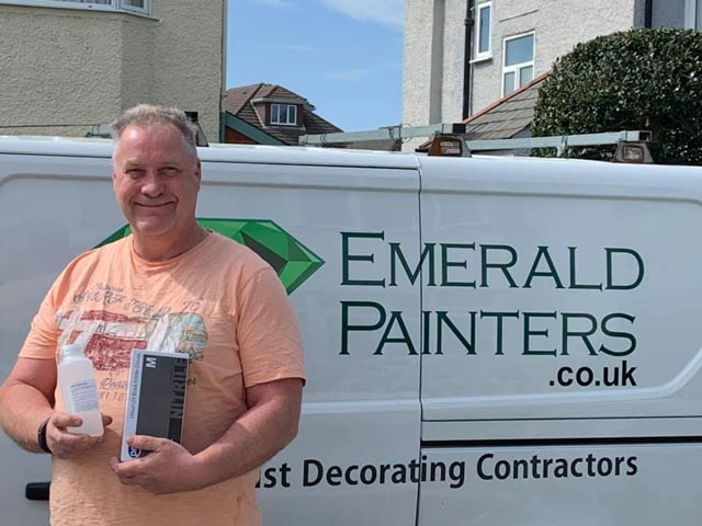 Emerald Painters Donate Hand Sanitiser to Macmillan Caring Locally - Helping our Local Community