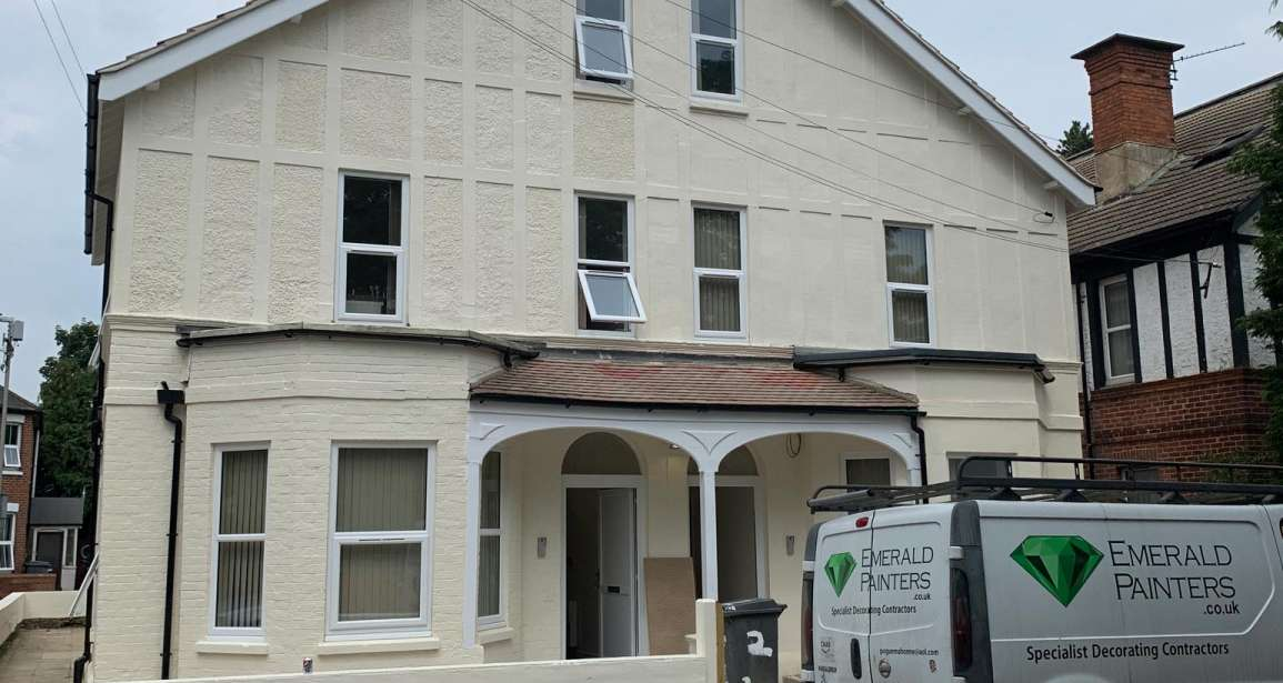 Painting Project - Exterior and Interior in HMO House of Multiple Occupancy Painted by Emerald Painters Bournemouth