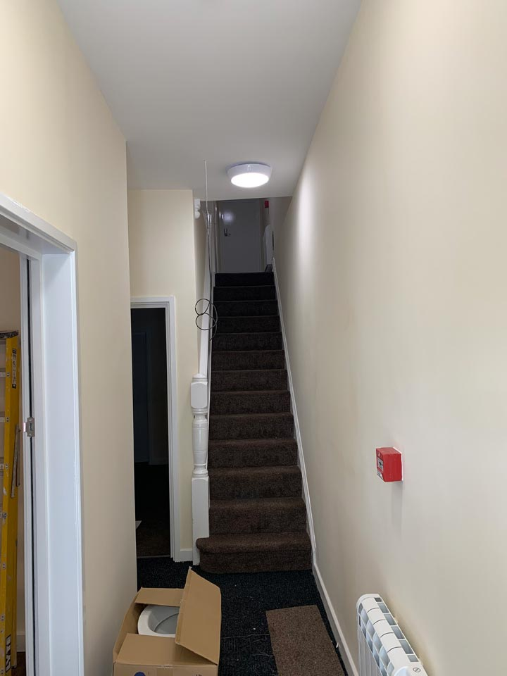 Hallway and Stairs Painted in HMO House of Multiple Occupancy by Emerald Painters Bournemouth