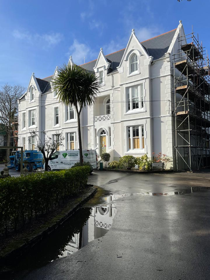 Refurbishment of The Green House Hotel Bournemouth including Redecorating New Render Timber Repairs - Hotel Front by Emerald Painters