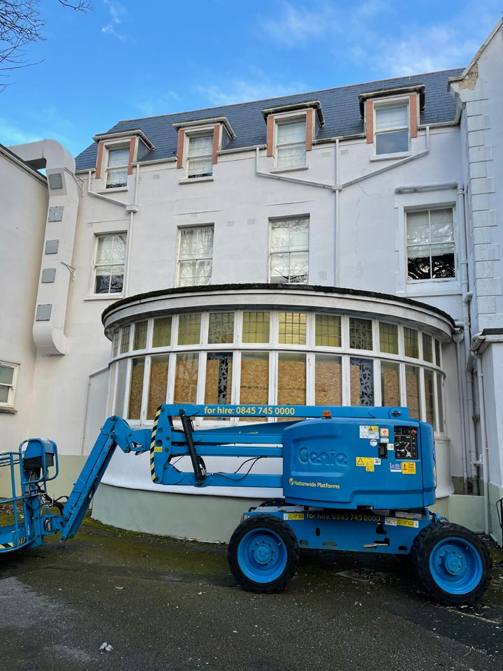 Refurbishment of The Green House Hotel Bournemouth including Redecorating New Render Timber Repairs - Hotel Rear by Emerald Painters