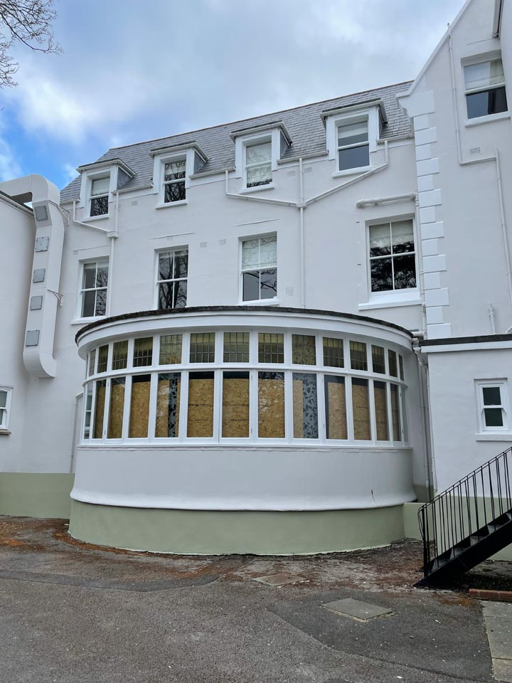 Refurbishment of The Green House Hotel Bournemouth - Hotel Rear After by Emerald Painters